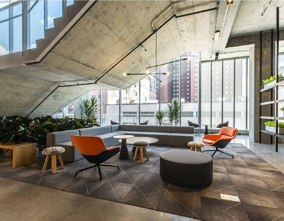 venue industries L shaped sectional install for columbia college