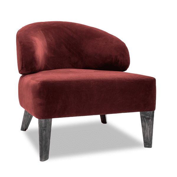 red velvet slipper lounge chair with tapered wood legs