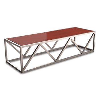 coffee table with geometric metal base and wood top